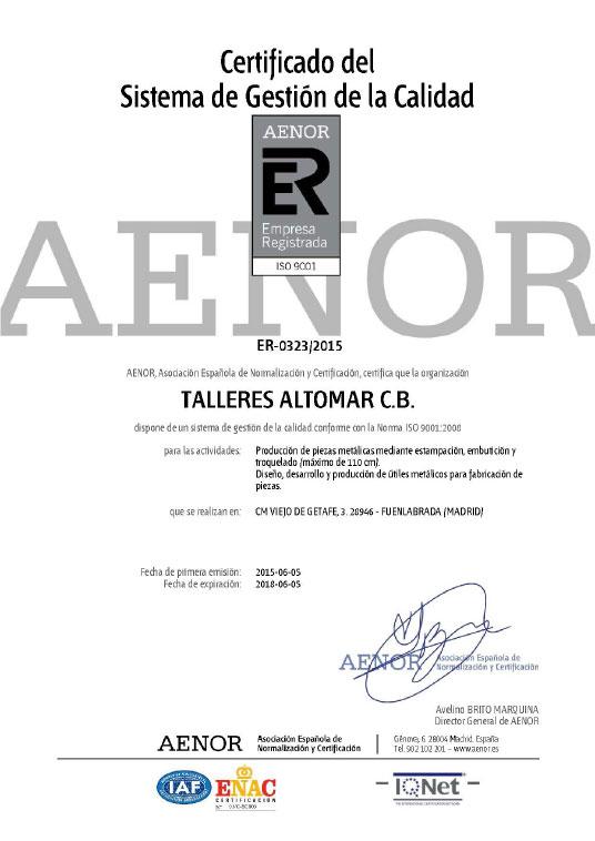 Certificado Aenor Talleres Altomar