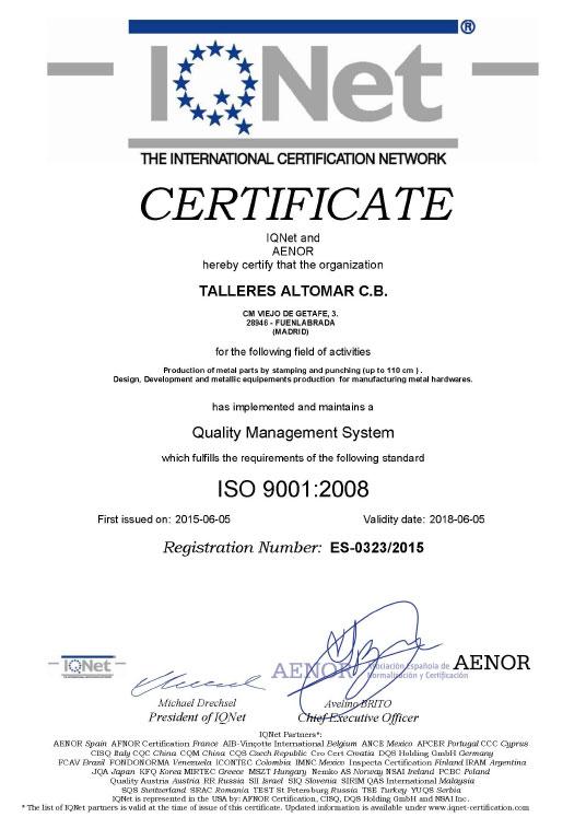 Certificado IQNET Talleres Altomar